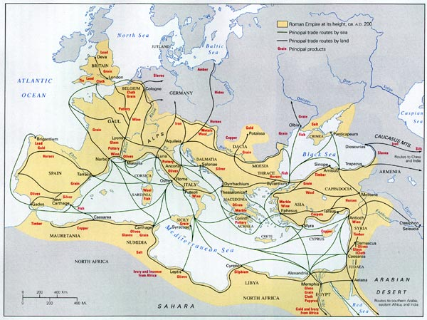 Map of Roman World, 200 C.E.