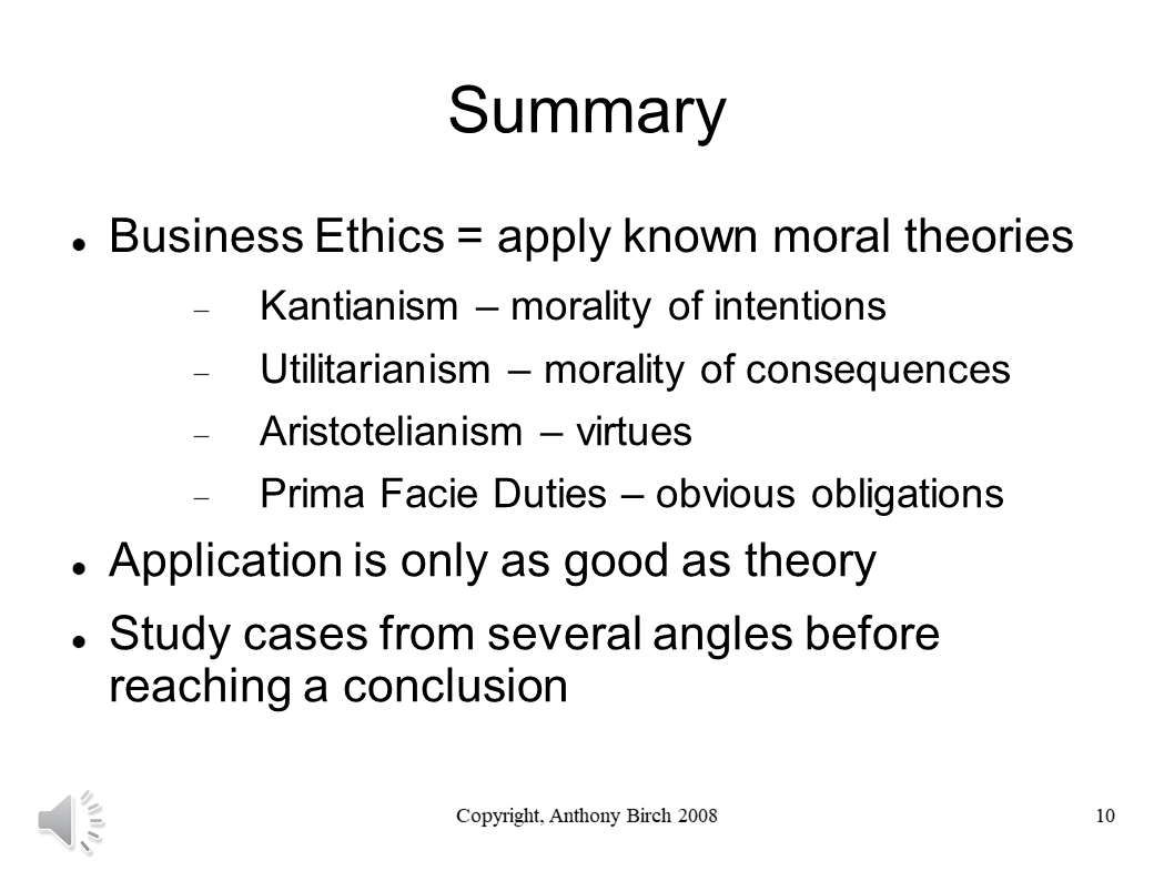 Summary of Business Ethics