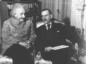 Thomas Mann with Albert Einstein at Princeton University in 1938