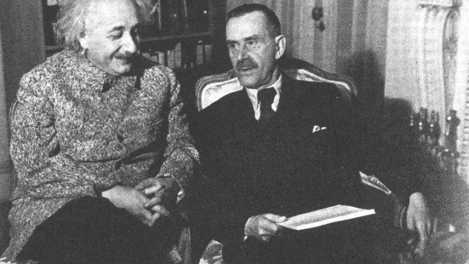 Thomas Mann with Albert Einstein at Princeton University in 1938